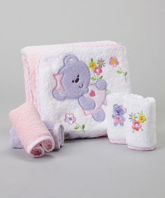 Another great find on #zulily! Purple Bear Terry Hooded Towel & Washcloth Set #zulilyfinds