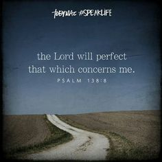 Psalm 138:8  The Lord will perfect that which concerns me