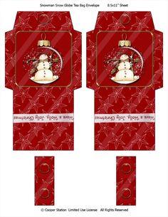 Digital Tea Bag Envelope Snowman Theme by CooperStation on Etsy Easy Christmas Crafts, Noel Christmas, Christmas Printables, Simple Christmas, Christmas Decorations, Christmas Poems, Snowman Snow Globe, Sock Snowman, Snowmen