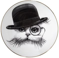 Add charming design to your interior with this luxurious Perfect Plate from Rory Dobner. Adorned with a quirky illustration of a cat in a hat wearing a monocle, in Rory Dobner's unique black ink st. Rory Dobner, Tinta China, Hand Painted Plates, Cat Hat, Cat Decor, Ink Illustrations, Small Plates, White Plates, Cat Gifts