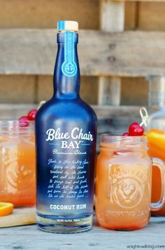 Coconut Rum Punch 1 cup Blue Chair Bay Coconut Rum 2 cups orange juice 2 cups pineapple juice 2 cups ginger ale 1 cup grenadine or cherry syrup Orange and lemon slices, maraschino cherries for garnish Instructions