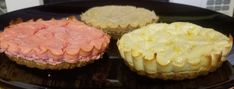Each one - 2 TBSP oatbran, 1 packet sweetener, 1 TBSP scrambled egg. Add other seasonings as desired. Mix & press into mini pie pan, cook at 350°F, 5 mins, let cool. For filling, mix 2 8oz. pkg FF cream cheese, 2 eggs, 2 tsp vanilla & 1/4 c splenda. Pour about 1/4 c mixture on top of oatbran & cook on 325°F for 30-35 mins. I separated filling for different flavors. 1 cap of lemon extract; 1 tsp pumpkin pie spice, 1/2 packet strawberry flavoring (for water), etc Mini Pie Pans, Mini Pies, Mini Cheesecakes, Lemon Extract, 2 Eggs, Pumpkin Pie Spice, Scrambled Eggs, Other Recipes, Spices