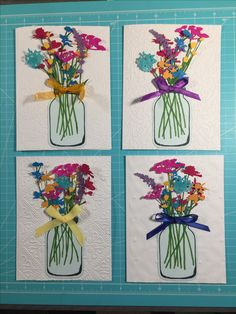 Mother's Day wildflower mason jar bouquet cards: spectrum noir alcohol markers and Tim holtz wildflower dies.