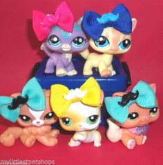 LITTLEST PET SHOP LOT~5 KITTY CAT PALS+MUSTACHE BOWS~Sparkle*Persian*Short Hair