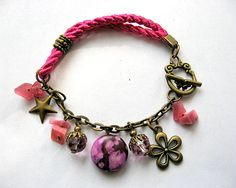 Agata piatra semipretioasa, cristale si accesorii bronz - impletitura tesatura roz - culori produs - agata mov deschis si negru, cristale roz, accesorii bronz auriu