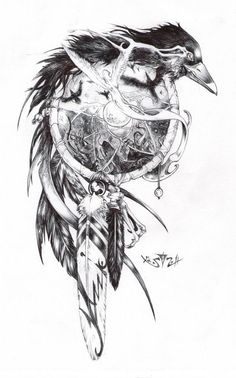 Crow dream catcher #dreamcather #sketch #crow