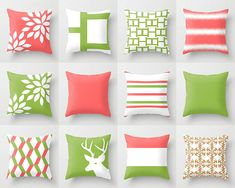 Coral Pillow Covers Throw Pillow Covers Decorative Pillow Covers Accent Pillow Covers Green Pillow Covers Home Decor 26 : Green Pillow Covers, White Cushion Covers, Couch Cushion Covers, White Pillow Covers, Coral Pillows, Green Pillows, Diy Pillows, White Pillows, Throw Pillows