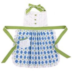 """Ruffled-top apron in blue and white with green ties.Product: ApronConstruction Material: 100% CottonColor: Blue, white and greenFeatures: Original design by BrejerOne size fits mostDimensions: 29"""" H x 29"""" W Cleaning and Care: Machine wash cold, tumble dry low"""