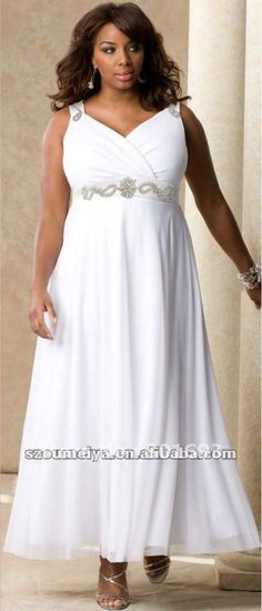 WD717 designer casual chiffon empire waist plus size tea length beach wedding dresses US $139.00 - 180.00