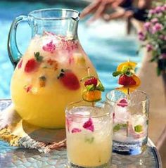 SUMMER PINEAPPLE STRAWBERRY COOLER Ingredients - 1 12-ounce can frozen pineapple juice concentrate, thawed - 1 6-ounce can frozen limeade concentrate, thawed - 4 cups cold water * 1 liter club soda, chilled - Ice cubes - Fresh strawberries (optional) - Short (6-inch) wooden skewers Assorted fruits such as halved orange slices, halved lime slices, orange sections, raspberries, strawberries, sliced kiwifruit, and mint sprigs
