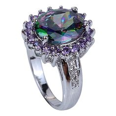 YAZILIND Lady's Silver Plated Flower Shape Crystal Multicolor Women Ring size6
