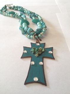 Cowgirl Chic / Urban Cowgirl / Cowgirl Bling Turquoise Necklace with Cross Pendant. $42.00, via Etsy.