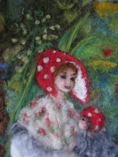 Needle felted painting inspired by Elsa Beskow, from Israel
