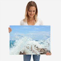 Metal Print - Waves splash against rocks Rocks, Poster Prints, Waves, Tapestry, Metal, Beautiful, Decor, Art, Hanging Tapestry