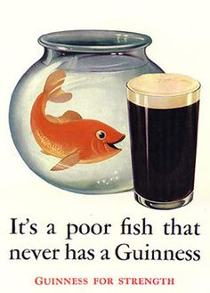 """Our ninth Guinness poster by John Gilroy features a frustrated goldfish who can't reach a pint of Guinness just outside his fishbowl. Under the """"Guinness For Strength"""" banner, it also uses the curious tagline. """"It's a poor fish that never has a Guinness. Beer Advertisement, Retro Advertising, Vintage Advertisements, Vintage Ads, Vintage Posters, Guinness Advert, Irish Images, Beer Poster, Beer Signs"""