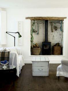 7 Cheap And Easy Cool Ideas: Coastal Decor Colors coastal beach house. England Houses, New England Homes, Brick Fireplace Wall, Primitive Fireplace, Cottage Fireplace, Cozy Fireplace, Fireplace Ideas, Foster House, Rope Decor