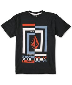 A sleek look with a cotton construction for lightweight comfort with a Volcom Stone and text logo and off center squares graphics screen printed at the chest.