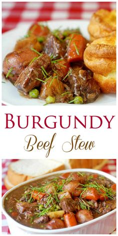Burgundy Beef Stew - A stick to your ribs, slow cooked, comfort food burgundy beef stew with a rich gravy made even more flavorful with added beef stock and burgundy wine.