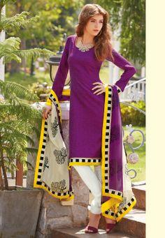 Purple Art Bhagalpuri #SilkChuridarKameez @ $55.00