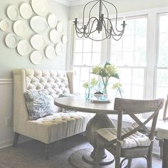 I'm in the office today! AKA my breakfast nook putting some finishing touches on some floor plans and design boards. However it definitely doesn't look like this at the moment. Hope everyone is having a wonderful Thursday!! Sharing for a couple #Thursday tags! #thursdaythrowpillows - love my blue floral throw pillows I picked up at an antique store #thriftedthursday - almost all the plates on my plate wall were found at antique markets, thrift stores, and estate sales #makesmesmilethursday…