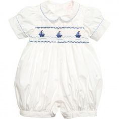 Prince George´s Annafie Romper suit - smocked sailboats - CHRISTENING - CELEBRATION - online boutique shop for casual and formalwear