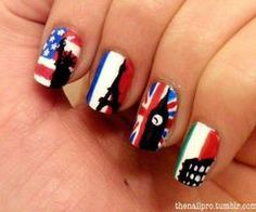 America, France, England, and Italy nails...now these are cool!