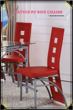 2 Kathie Casual Red Metal PU Side Chairs