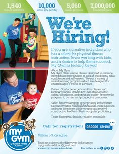 We Are Hiring. Join us now  Visit our Website: http://www.mygym.com/ahmedabad #MyGym #MyGymFun #MightyMites #MyGymAhmedabad #ComingSoon #Physical #Social #Cognitive #Emotional #Development #InteractiveSkill #Tumbling #Agility #Songs #Dance #PuppetShows #Swings #Adventure #ALotMoreToCome #Christmas #Ahmedabad #Gujarat
