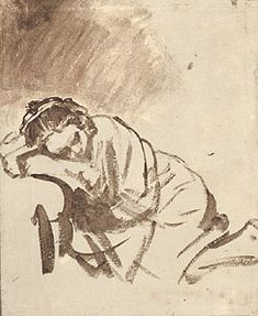 Brush Line Wash Drawing of a Woman by Rembrandt. He uses many varied lines: thick & thin, soft & hard, directional, scribble, hatching, fade in, fade out...