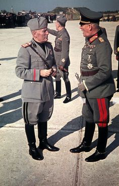 Benito Mussolini Speaks with Wilhelm Keitel at Feltre Airfield