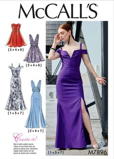 Sewing Pattern Misses Formal Gown Pattern, Strapless Dress Pattern, Front Split Gown Pattern, McCall's Sewing Pattern 7896 - Dress Honey Formal Dress Patterns, Evening Dress Patterns, Infinity Dress Patterns, Wedding Dress Sewing Patterns, Event Dresses, Occasion Dresses, Prom Dresses, Bridesmaid Dress, Mix Match