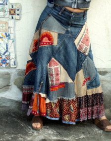 Crazy banjara patchwork skirt. Made from recycled denim skirt and clothing, banjara India fabrics. Hippie boho ethnic style. Banjara style. Appliqued. Remade, upcycled. Very long. One of a kind.  Size: M (european 36 - 38) a little streching  Waist (or upr hips) max 32 inches (82 cm)  Hips max 40 inches (102 cm)  Length about 38 inches (97 cm)
