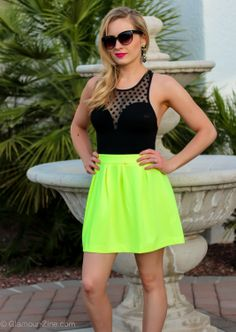 K Squared Glamour is beach ready with her first swim suit of the summer which she paired with Urban Philosophy's Neon Green Skater Skirt and Lily Wang's Crystal Lotus Earrings!