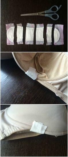 Si tu varilla comienza a salirse solo necesitas una toalla sanitaria e hilo para arreglarla.   15 Trucos inteligentes para todas las personas que usan brassiere