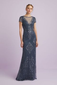 Short Sleeve Beaded gown Floor length fitted dress with cape sleeves features all over beading and sequins and an illusion neckline creates a stunning Gatsby-eque look! Formal Dresses For Teens, Formal Dresses For Weddings, Special Dresses, Designer Wedding Dresses, Bridal Dresses, Burberry Coat, Formal Dress Patterns, Long Sleeve Gown, Beaded Gown