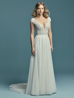 Boho wedding dress idea with v-neckline. Monarch by Maggie Sottero. See more Maggie Sottero Wedding Dresses on WeddingWire! Maggie Sottero Wedding Dresses, Wedding Bridesmaid Dresses, Boho Wedding Dress, Designer Wedding Dresses, Bridal Dresses, Wedding Gowns, Gown Gallery, Perfect Wedding Dress, Inspiration