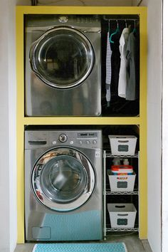 An idea to incorporate laundry into large bathroom. J