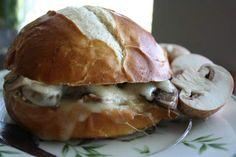 Mushroom and Swiss Grilled Cheese on a Pretzel Bun
