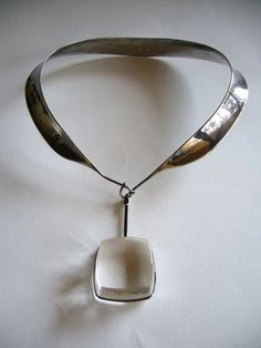 Necklace |  Georg Jensen.  1950s.  Sterling silver and rutilated quartz.