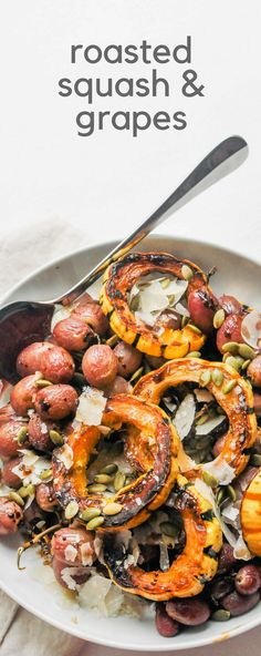 This recipe for roasted squash and grapes is an elegant and delicious side dish for the holidays or other special meals. #sidedish #holidayrecipes #squashrecipes