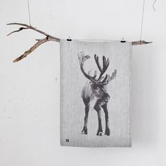 Lapuan Kankurit Deer ( Poro) tea towel is crafted from the finest European linenes and bio organic cottons. Designed by Teema Jarvi, a renowned artist of wildlife.  Teema explores the Finnish woods and lakes to capture the essence of the wildllife in his illustrations. Teema has transported us with this stunning majestic king of the forest the deer design on this linen cotton mix quality tea towel, transporting us to the soothing calm of the primeval Scandinvian wilderness.  A Luxury…