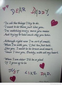 Dear Daddy Father's Day poem