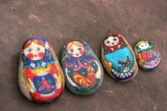 Handmade stone matryoshkas - maybe for our unit study on Russia I'll have the class each paint one of themselves and mod podge it so we can have a class collection