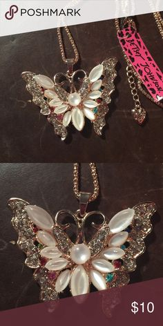 """Betsey Johnson Crystal butterfly necklace NEW New with tags. 28"""" chain. Next day shipping Betsey Johnson Jewelry Necklaces"""