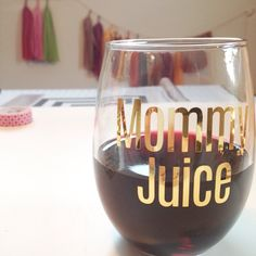 Mommy Juice Stemless Wine Glass // gold glassware // barware // baby shower gift by FancyFaceStudio on Etsy https://www.etsy.com/listing/203834774/mommy-juice-stemless-wine-glass-gold