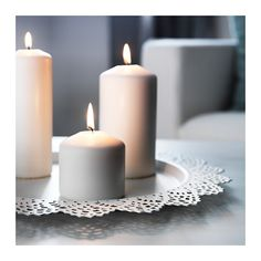 SKURAR Candle dish IKEA The candle dish stands evenly because it has soft plastic feet.