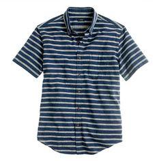 <> J-Crew Secret Wash short-sleeve shirt in indigo stripe