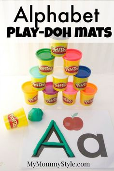 Alphabet play-doh mats with free printables for each letter. Each letter printable comes with capital and lowercase letter and a picture that starts with the letter.