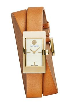 Tory Burch 'Buddy Signature' Rectangular Wrap Leather Strap Watch, 17mm x 31mm available at #Nordstrom