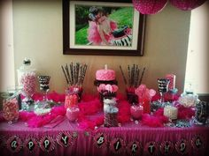 Pink & Zebra candy buffet for a little girl's first birthday created by Jessica Cooper with candy purchased from www.candypros.com. If you have a photo of something you created with candy purchased from Candy Pros, please send it to desireedegarmo@gmail.com with your name, company name (if applicable), and what the occasion was. We will post it on our facebook, twitter, pinterest, and instagram so you can show off your creation to the world! :)